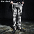 2016 new fashion Autumn Punk style Nightclub show Houndstooth grid pants men casual slim fit plaid feet pants men M-XXL