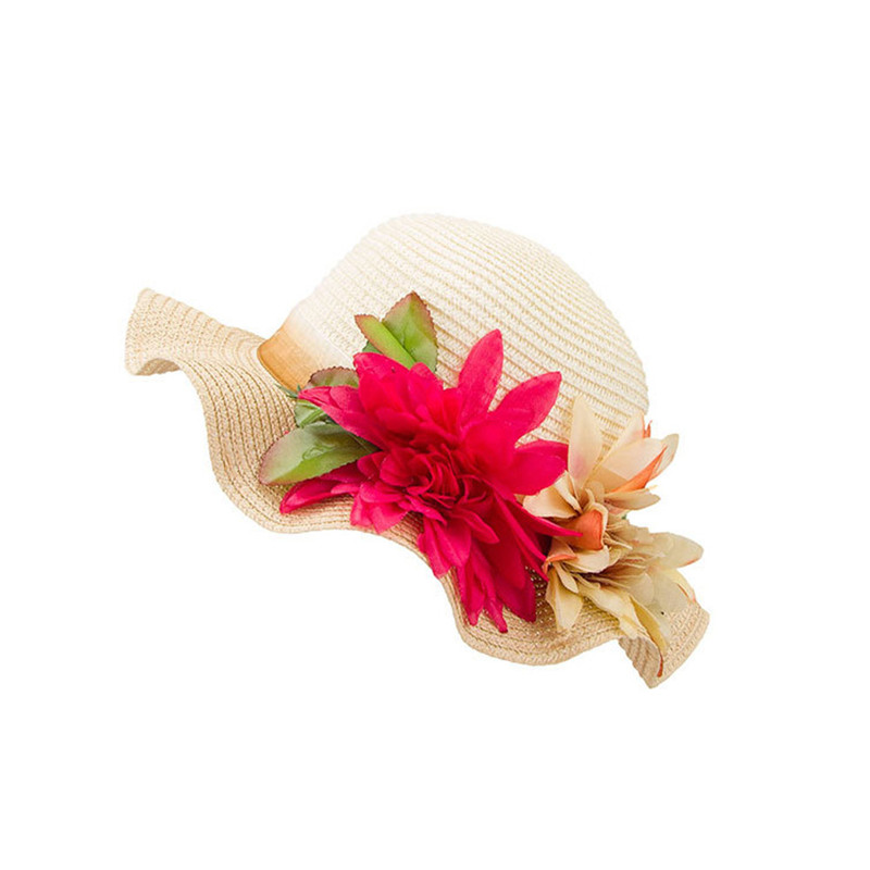 Fashion Children Flower Hit Casual Color Large Eaves Straw Beach Cap Straw Hats