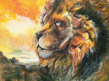 HOME ART - high quality art oil painting-Lion & World # TOP wildlife  animal Decor ART OIL PAINTING ON CANVAS-FREE SHIPPING COST