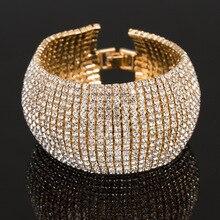 Мода горный хрусталь эластичные браслеты Femme Многослойные эластичные Кристалл Браслеты Bling Свадебные украшения