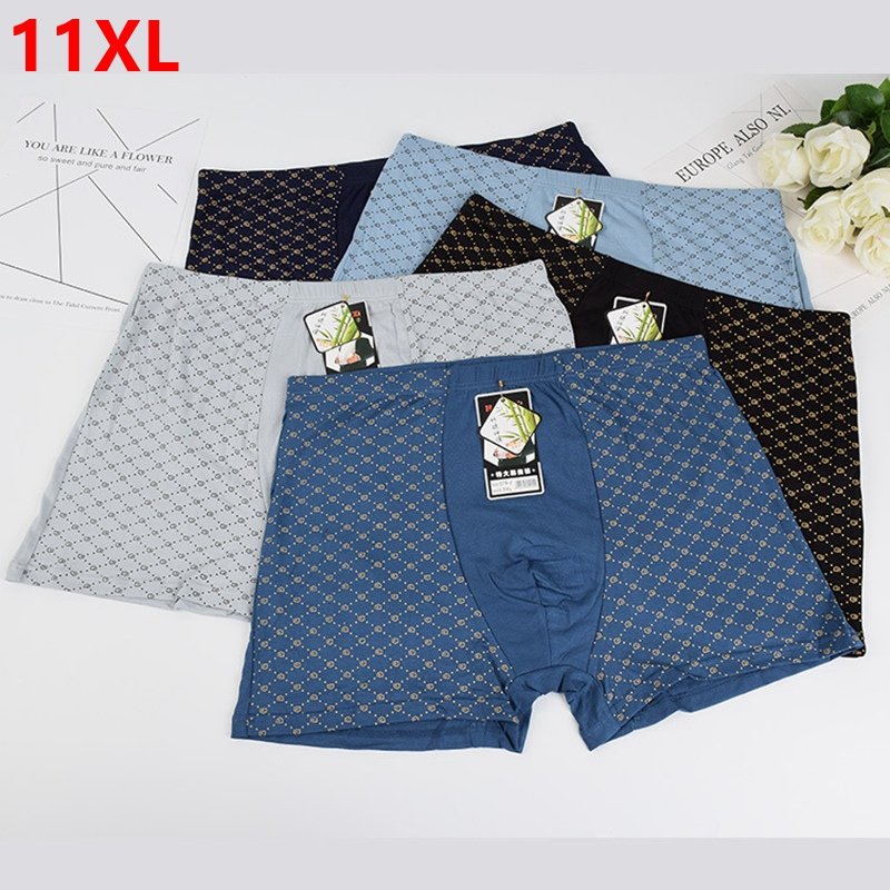5 pieces / lot  Extra large plus size increase oversize pants men's boyshort underwear big size 11XL 9XL four corner boxer 1