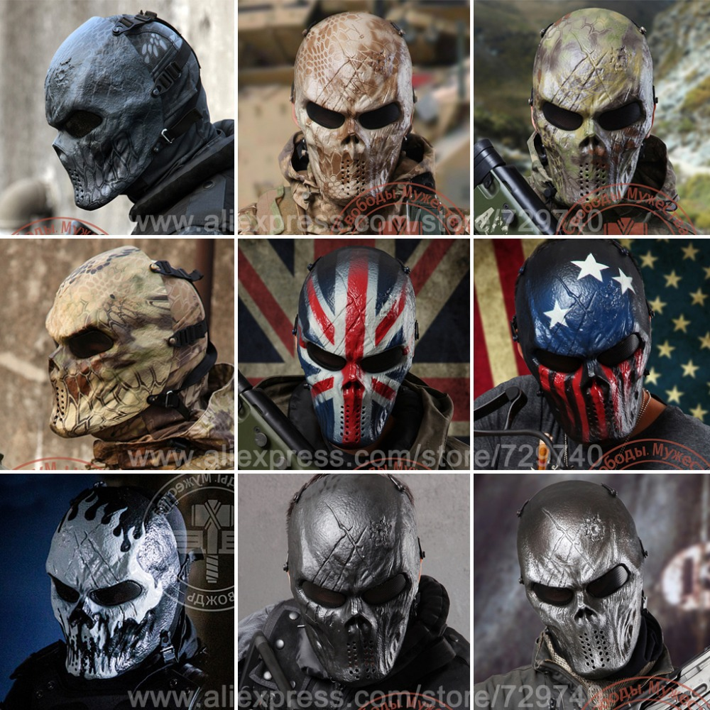 Men's Hats Dashing 9 Style Typhon Ghost Camo Tactical Military Full Face Mask Wargame Paintball Balaclava Airsoft Skull Helmet Protection Helmet Fine Craftsmanship