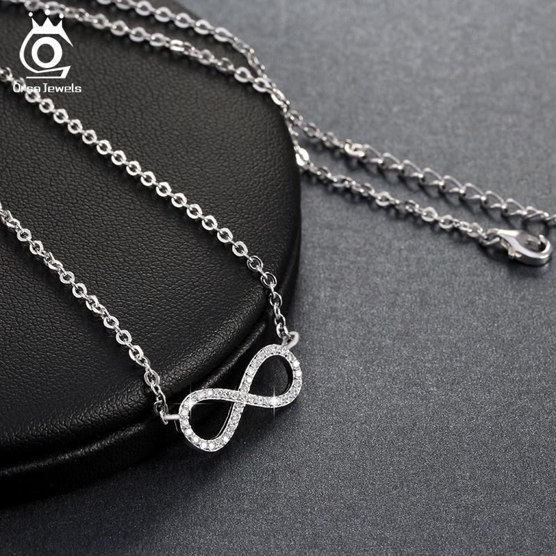 ORSA JEWELS Silverfärg Infinity Hängsmycke Halsband Full Shiny - Märkessmycken - Foto 3