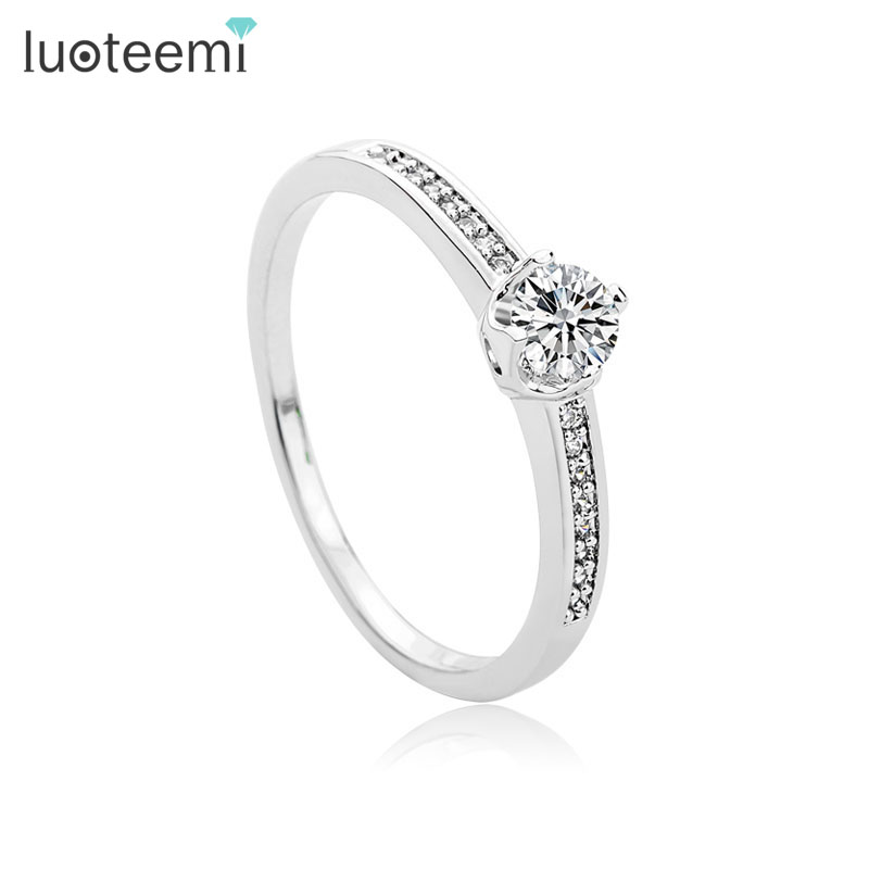 luoteemi best quality luxury white gold plated sparking cz diamond charm ring for women finger jewelry wedding party accessories - Where To Sell Wedding Ring
