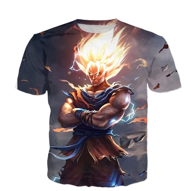 2017 summer New Dragon Ball Z Short sleeve T-shirts Latest design Angry Goku 3d print Men Women casual t shirt Plus S-5XL R2321