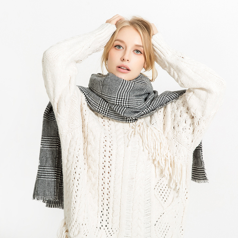 Scarfblog Scarf Women European Style Luxury Brand Gray Plaid Winter Scarf Shawl Womens Scarfs Fashionable Neck Blanket Scarf