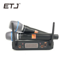 ETJ Brand Fixed UHF Dual Wireless Microphone System X8 For Church Stage More Channel Than SLX24 PGX24 high end uhf 8x50 channel goose neck desk wireless conference microphones system for meeting room