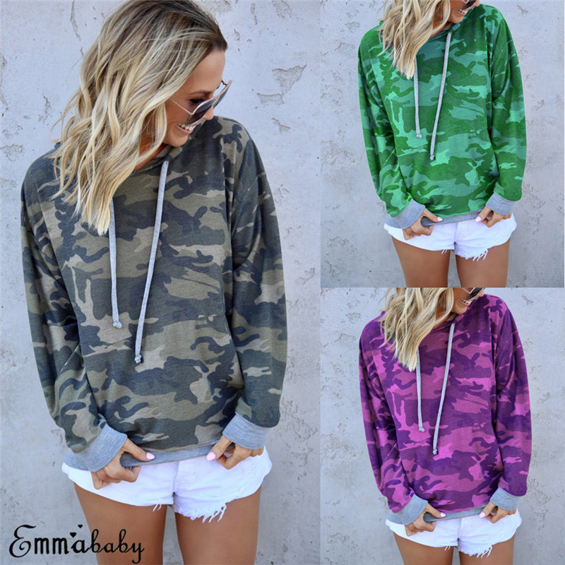 Sexy Women Long Sleeve Camouflage Print T-Shirt Sweatshirt Blouse Tops Pullovers Hooded Autunm Sweatshirt Lace-up Outwear New