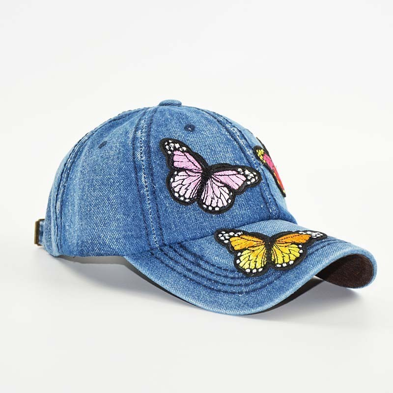 2018 NEW   Baseball     Cap   Women Full Colorful Big Butterfly Hat Denim Bling Rhinestone Snapback   Cap   Casquette Outdoors Sun Hat
