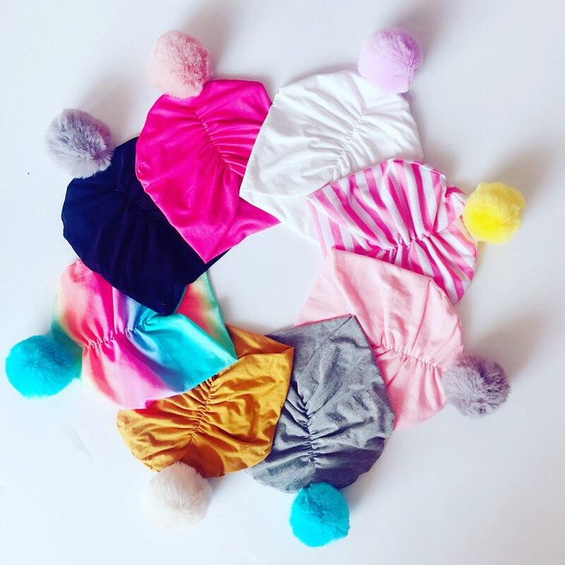 1 Stücke 2018 Neue Ankunft Pelz Pom Pom Bobble Hut Caps Für Kinder Kappe Warme Newbron Kinder Knoten Beanies Hüte Bebe Baumwolle Kappe Schrumpffrei
