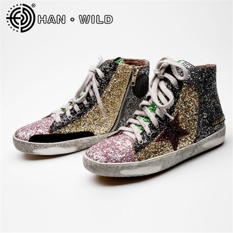 Women High Top Do Old Dirty Shoes Mixed Color Women Flats Glitter Star Casual Lace Up Vintage Shoes For Women Flat Shoes woman burst leather casual shoes golden star women do old dirty shoes female lace up distressed leather vintage flat shoes