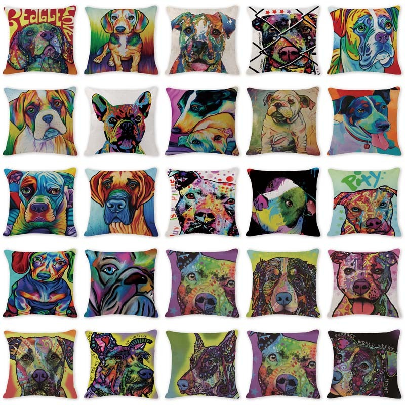 2017 New Hot Toss Pillow Modern Art Animal Dog Pillow Case Cover Camping Square Cotton Linen Lumbar Support Pillow Case Covers