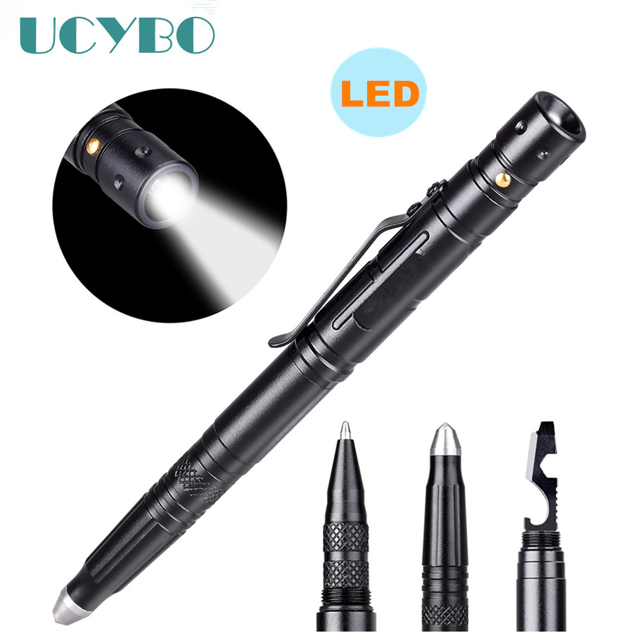 Self defense pen with Flashlight LED personal defense Protection tactical pen Self-Defense Emergency weapon Tool anti skid hard anodic oxidation 3 tactical pen self defense tool emergency tactical pen aviation aluminum tools free shipping