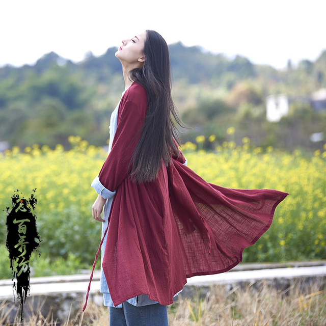 Spring Summer Chinese Style Long Sleeves Cotton And Linen Solid Color Womn Long Jackets