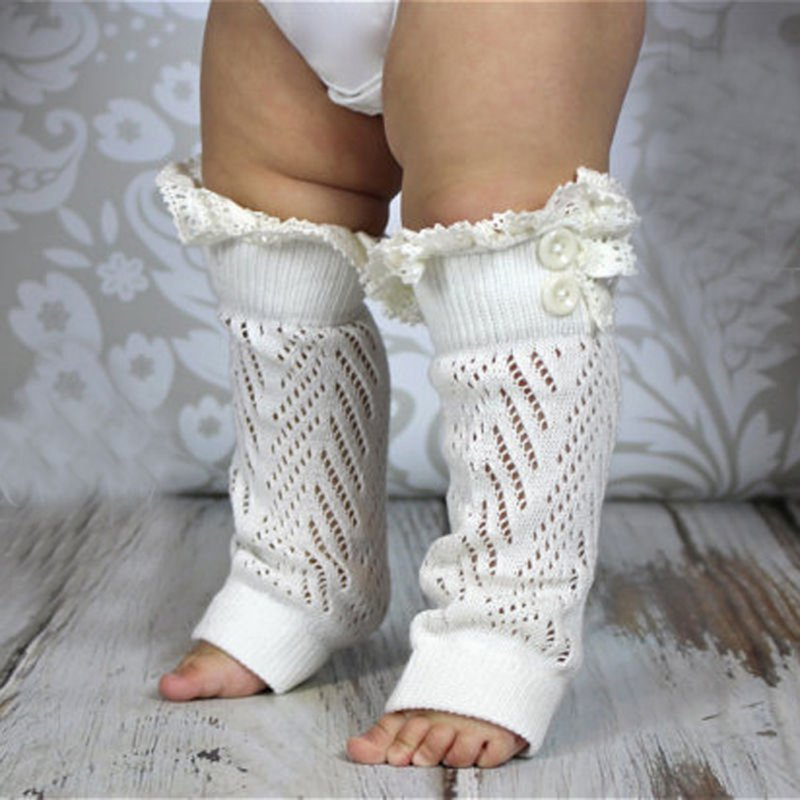 Baby Girl Lace Knee Socks Leg Warmers With Ruffles Knee Pads For Crawling Babies Toddler Walking Kneepad Socks