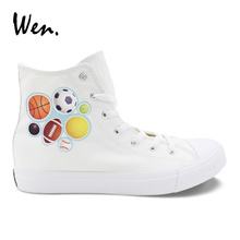 Wen Original Plimsolls Design Sports Balls White Canvas Shoes Man Woman Classic Breathable Sneakers High Top Casual Lacing Flat