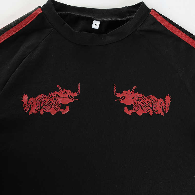 Weekeep ファッションスリムウエスト tシャツの女性はドラゴンプリントストライプ綿 Tシャツ 2018 夏黒 o-ネック tシャツファム