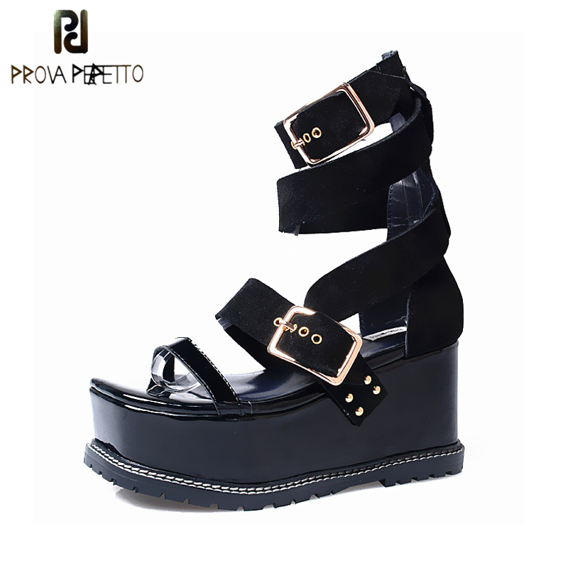 Prova Perfetto High Heel Platform Women Punk Style Sandal Shoe Ankle Buckle Strap Gladiator Summer Sandal Shoe New Arrival stylesowner elegant lady pumps sandal shoe sheepskin leather diamond buckle ankle strap summer women sandal shoe