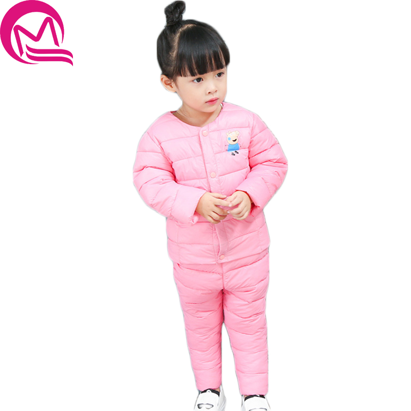 Children Set Boys girls Clothing sets winter 1-7year hoody Down Jacket + Trousers Waterproof Snow Warm kids Clothes suit 6 color 2016 winter boys ski suit set children s snowsuit for baby girl snow overalls ntural fur down jackets trousers clothing sets
