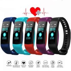 Bluetooth Smart Gelang Layar Warna Y5 Smartband Monitor Detak Jantung Pengukuran Tekanan Darah Kebugaran Tracker Smart Watch Pria