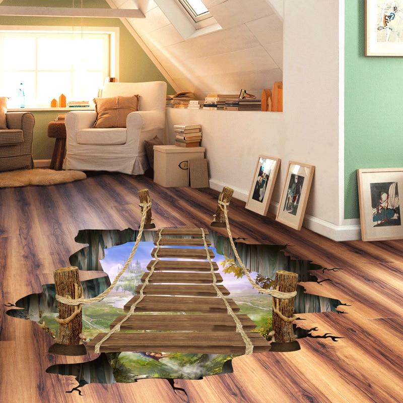 3d Drawbridge Floor Stickers 60 90cm Wall Sticker Wooden Bridge Home Decor Vinyl Decals