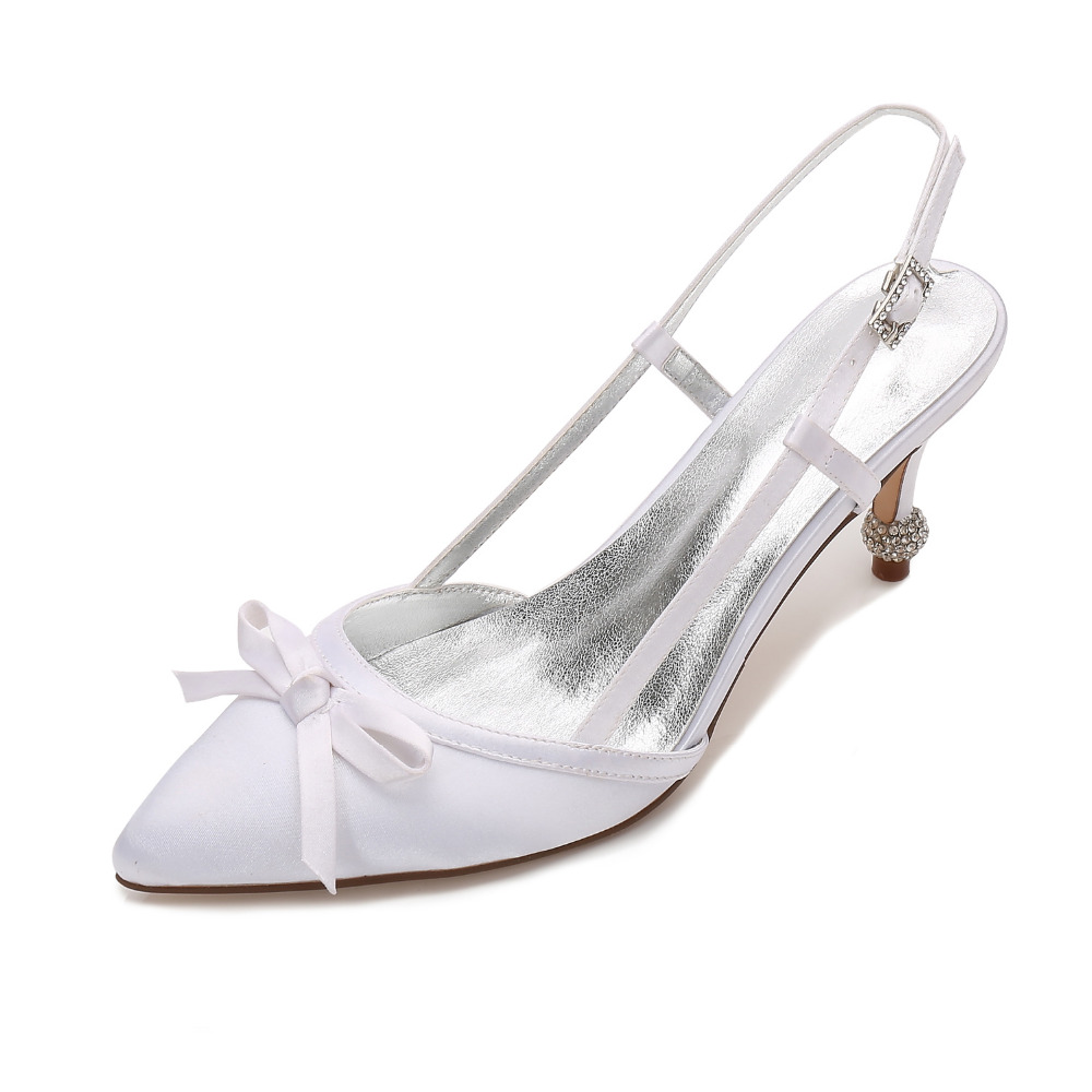Mariage champagne white ivory red Cocktail De Satin Slingback Pointu Bout Arc royal Doux silver Chaussures purple Cristal Grey Spike Soirée Robe En Creativesugar Blue Talons Nuptiale Strass Black nwpFaq1xAw
