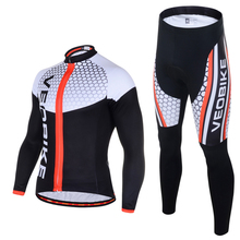 VEOBIKE Autumn Mens Long Sleeve Cycling Jersey Set Pro Team 2018 3D Gel MTB Bike Clothes Quick Dry Bicycle Clothing Sport Suits