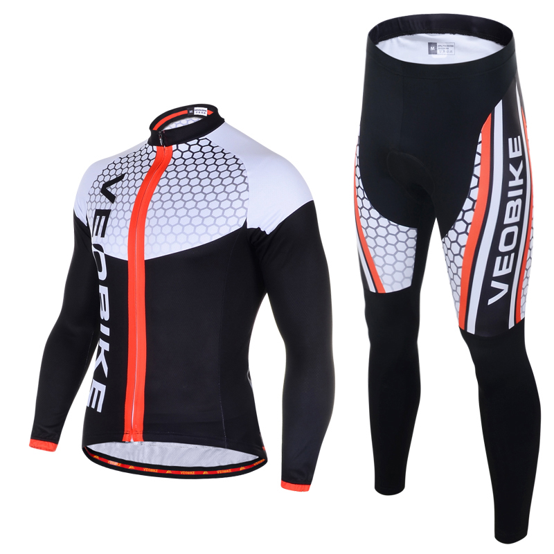 VEOBIKE Autumn Men's Long Sleeve Cycling Jersey Set Pro Team 2018 3D Gel MTB Bike Clothes Quick Dry Bicycle Clothing Sport Suits