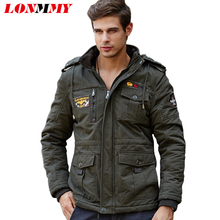 LONMMY M-4XL 2017 winter jacket men Thick wool liner Hoods Cotton jaquetas Bomber jacket men Hoodies military jacket coat men