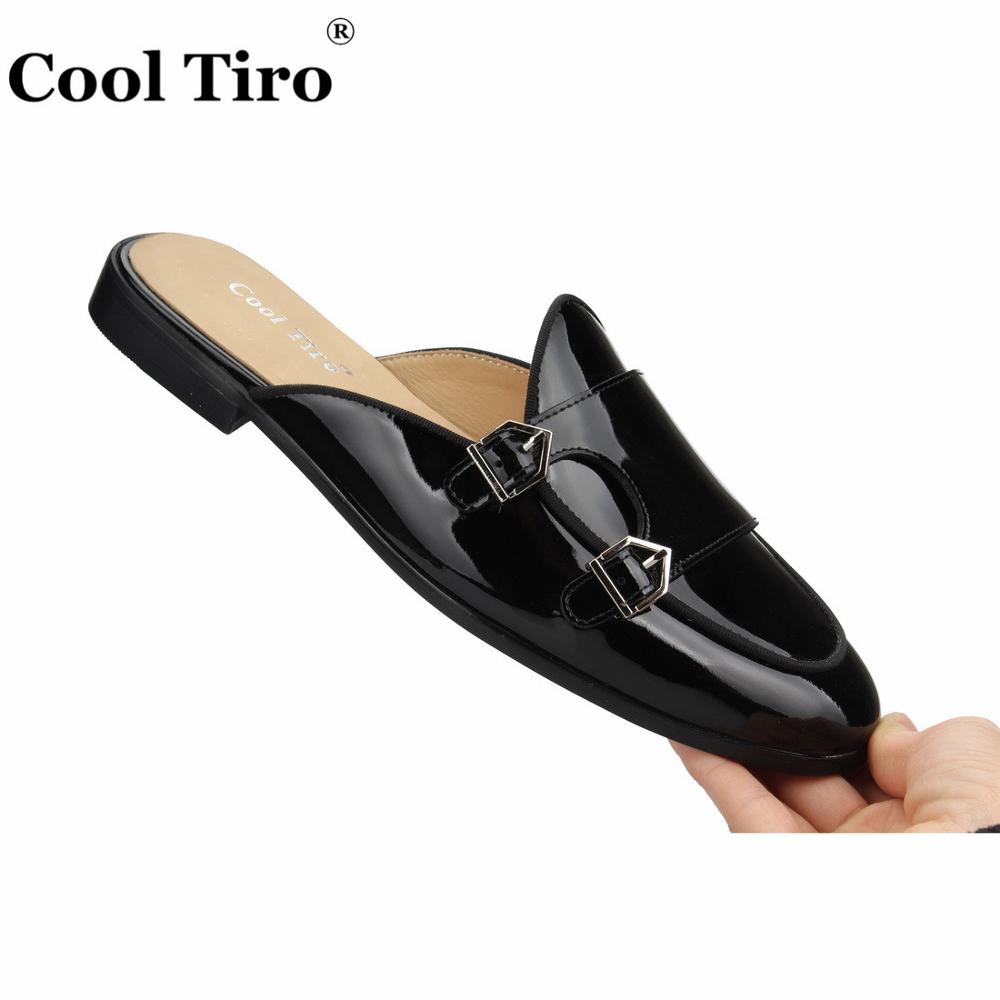 Cool Tiro Black Patent leather Mules Men Slippers Smoking Slip On Flats Handmade DOUBLE MONK Men