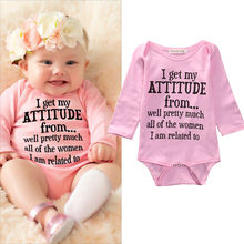 2017 New Arrival Newborn Toddler Infant Baby Pink Bodysuits Girls Clothes Letter Print Long Sleeve Jumpsuit Playsuit 0-18M(China)