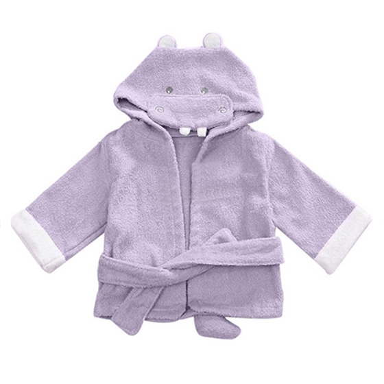 Baby Infant Children Girl Boy Animal Illustrations Hooded Bathrobe, Light purple