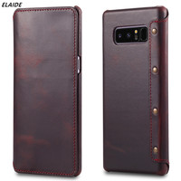 ELAIDE Flip Wallet Case For Samsung Galaxy Note 8 Cover Real Genuine Leather Phone Bag For