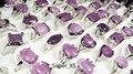 15 Pçs/lote Natural Ametista Pedra Prata Banhado Anéis Para As Mulheres Moda Moldura Definir Jóias Inteiras Lotes Anel LR022 Frete Grátis