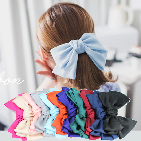 Free Shipping 1pcs Quality Big Large Beautiful Girls Silk Bow Barrette Hair Clips Women Accessories