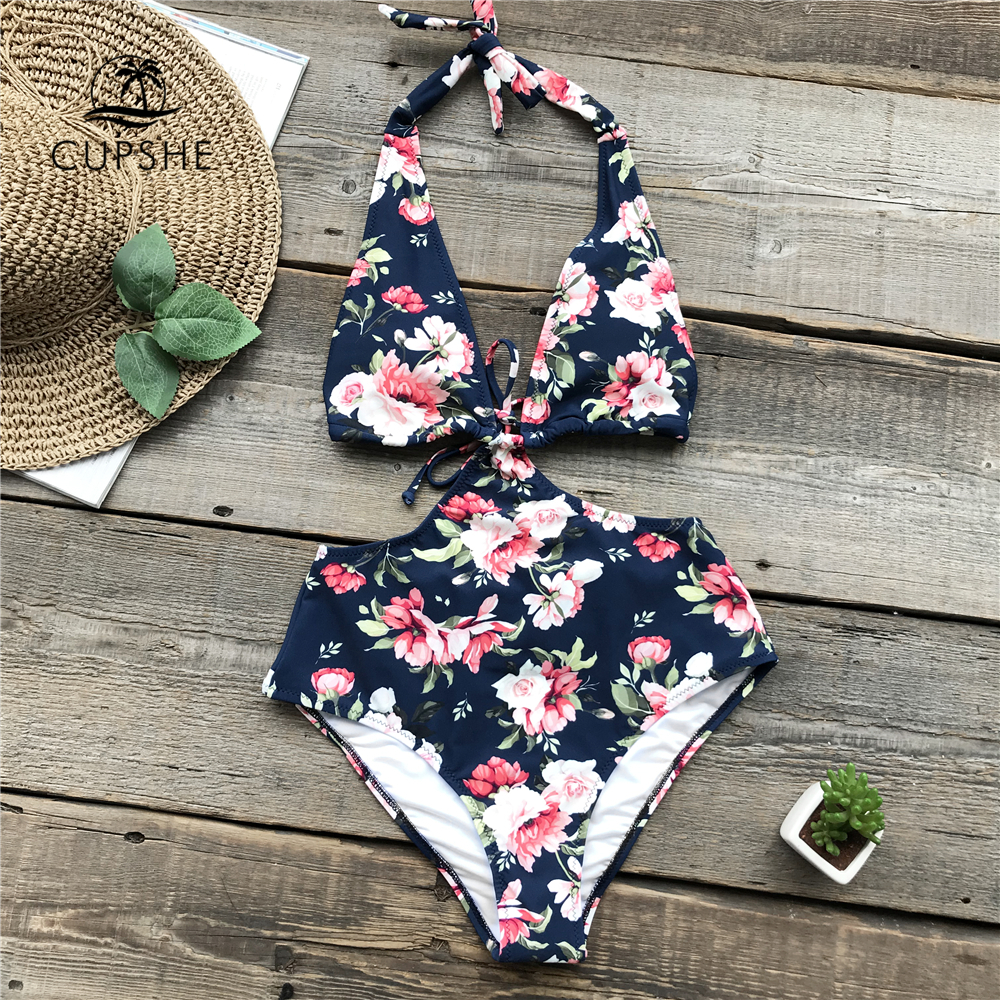 CUPSHE Halter Flora Print One-piece Swimsuit Women Deep V-neck Tied Back Shirring Monokinis 2018 New Girl Sexy Beach Swimwear floral print random split back halter romper
