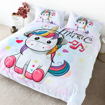 Love Music Unicorn Duvet Cover Sets Twin Full Queen