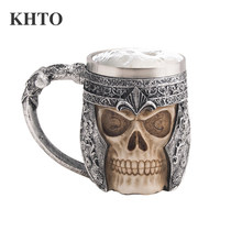 KHTO 14oz Coffee Mugs Double Wall 3D Skull Mugs Coffee Cup Mug Skull Knight Tankard Dragon Drinking Cup for Halloween Decor(China)