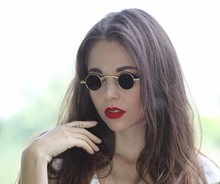 Dimshow 2017 New Fashion Gothic Steampunk Small Round Sunglasses Brand Design Vintage Retro Sun Glasses Oculos De Sol Feminino