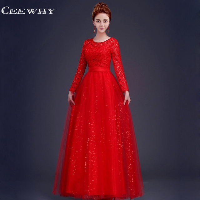 a306fc0b5b4c6 CEEWHY A Line 2018 Evening Dress Long Sleeve Mother Of The Bride Dress Red  Wedding Party Prom Dresses Robe de Soiree abendkleid-in Evening Dresses ...