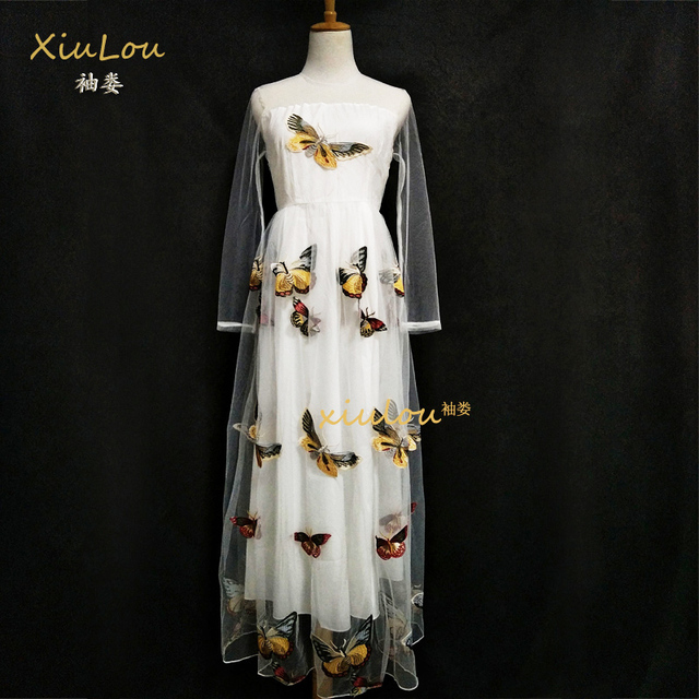 2018 European Fashion Long Sleeves White Dress Summer Fashion