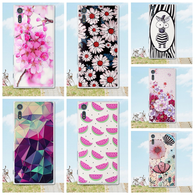 Mobile Phone Etui For Coque Sony Xperia XZ case 3D Relief paint soft Silicone back cover ...