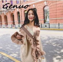 Genuo New Fashion cardigan sweater women 2019 autumn new Korean version loose long section coat woman winter