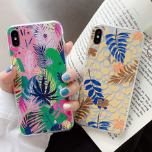 Colorful Art Leaf Phone Case For iPhone X 7 8 6 6S Plus XS Max XR Case Flowers Plants leaves Print Soft TPU Back Cover Coque leaf print iphone case