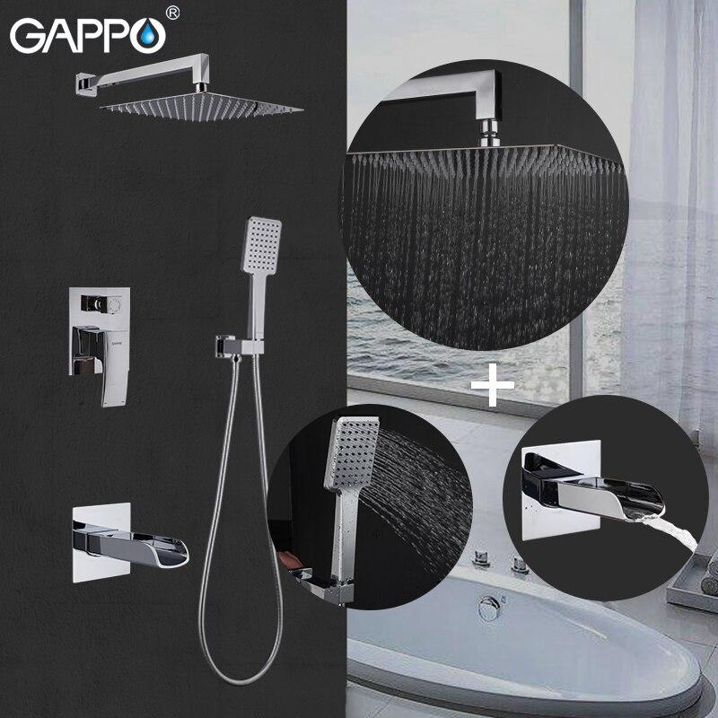 GAPPO łazienka bateria natryskowa zestaw głowica prysznicowa opady deszczu prysznic zawory mieszające chrome wodospad bateria do wanny z kranu w Baterie prysznicowe od Majsterkowanie na AliExpress - 11.11_Double 11Singles' Day 1