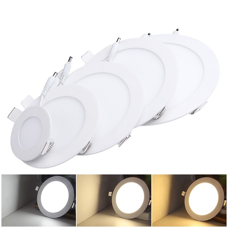 Dimmable Ultra thin 3W/4W/ 6W / 9W / 12W /15W/ 25W LED Ceiling Recessed Grid Downlight / Slim Round Panel Light(China)