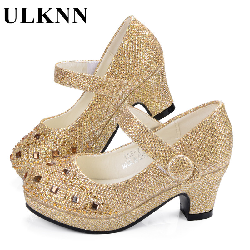 ULKNN Girl Shoes For Kids High Heel Platforms Leather Rhinestones Party Dress Children Shoes Kids Suit Soft Insole Silver Gold