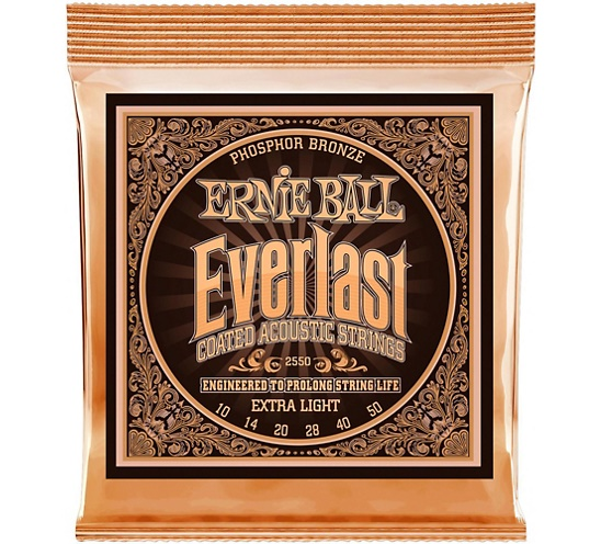 Ernie Ball 2550 Ever-last Phosphor Extra Light Acoustic Guitar Strings 010-050 gibson sag mb11 masterbuilt phosphor br 011 050