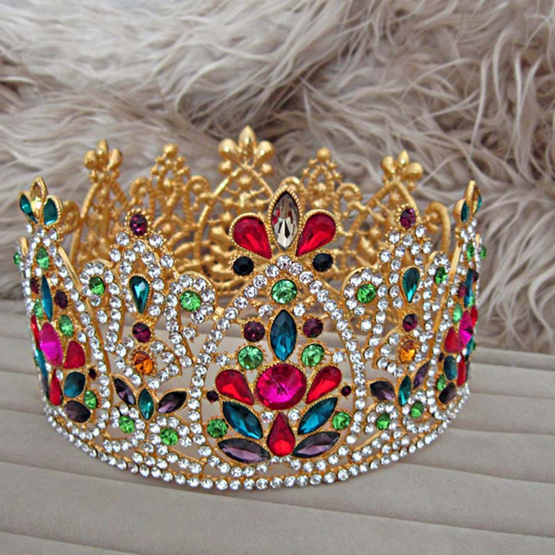 Baroque Colorful Crystal Bridal Tiaras Crowns Vintage Gold Rhinestone Diadem Pageant Wedding Hair Accessories Jewelry SL