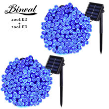 Binval Solar Cell 3v Lithium Led Bulbs 200 LEDs Garden Christmas Holiday Lighting Wedding Lights Party Decoration Blue